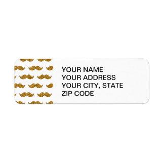 Motif de moustache de scintillement d'or imprimé étiquette d'adresse retour