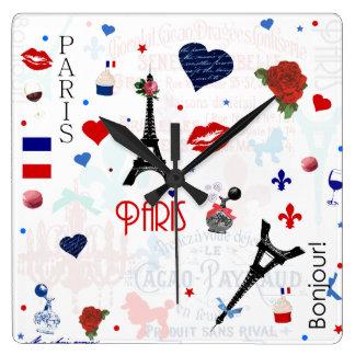 Motif de Paris avec Tour Eiffel Horloge Carrée