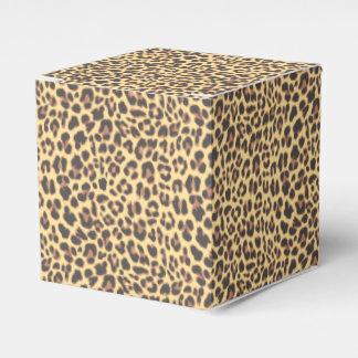 Motif de peau d'animal d'empreinte de léopard boites faveurs de mariage