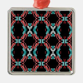 Motif de pixel ornement carré argenté