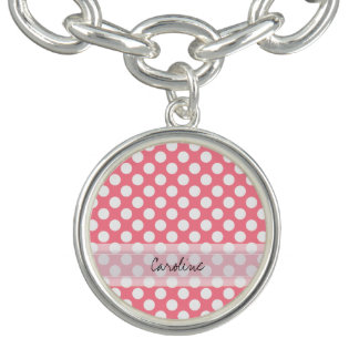 Motif de point à la mode blanc rose de polka bracelets avec breloques