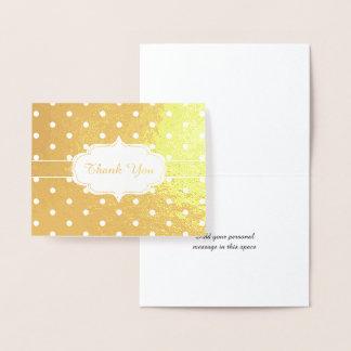 Motif de point classique de polka de Merci d'or Foil Card