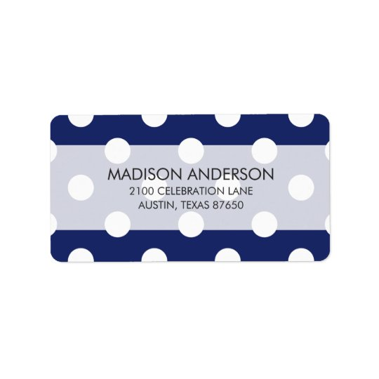 Motif de point de polka de bleu marine et de blanc étiquette d'adresse