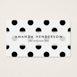 Motif de point noir et blanc de polka cartes de visite