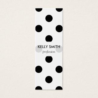 Motif de point noir et blanc de polka mini carte de visite