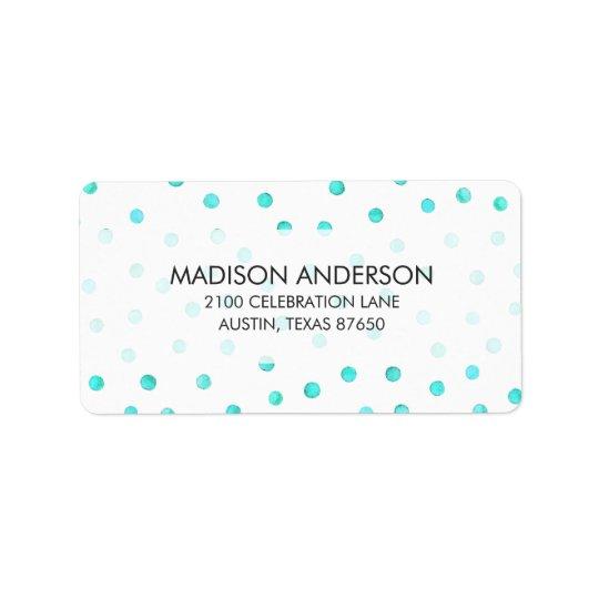 Motif de points blanc bleu turquoise de confettis étiquette d'adresse