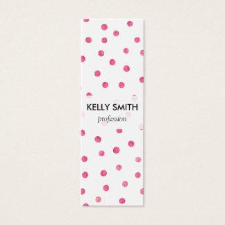 Motif de points blanc rose de confettis mini carte de visite