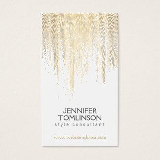 Motif de points élégant de confettis d'or de Faux Carte De Visite Standard