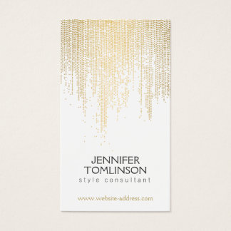 Motif de points élégant de confettis d'or de Faux Cartes De Visite
