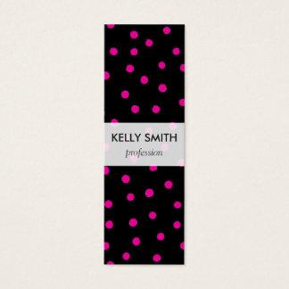 Motif de points rose et noir de confettis mini carte de visite