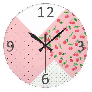 motif de pois mignon de dessin de cerise grande horloge ronde
