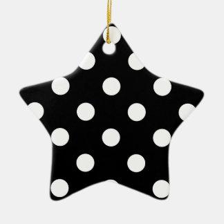 Motif de pois noir et blanc ornement étoile en céramique