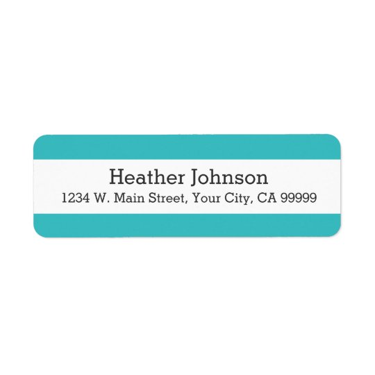 Motif de rayures bleues de turquoise moderne étiquette d'adresse retour