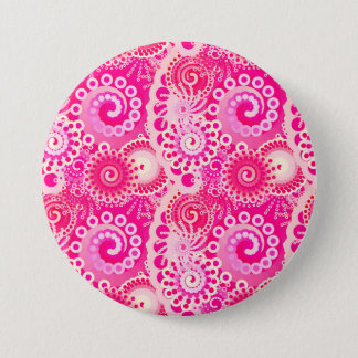 Motif de remous de fractale, nuances de rose badge rond 7,6 cm