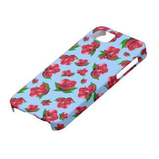 Motif de rose bleu et rouge étuis iPhone 5