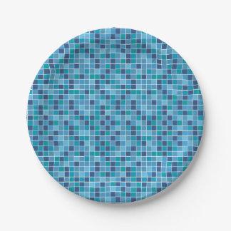 Motif de tuile de piscine assiettes en papier