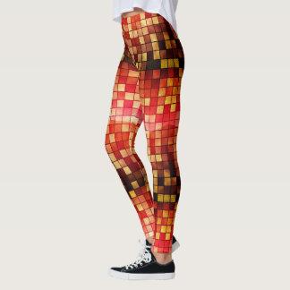 Motif de tuiles de mosaïque de carré rouge leggings