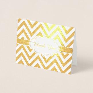 Motif de zigzag d'or de Chevron de Merci Foil Card