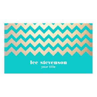 Motif de zigzag d'or et bleu de turquoise carte de visite standard