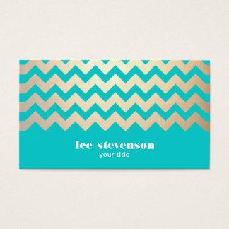 Motif de zigzag d'or et bleu de turquoise cartes de visite