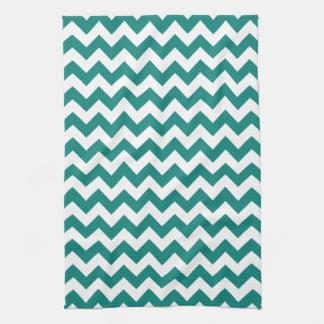 Motif de zigzag vert et blanc turquoise moderne de linge de cuisine