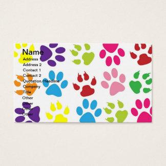 Motif d'empreinte de patte d'animaux familiers cartes de visite