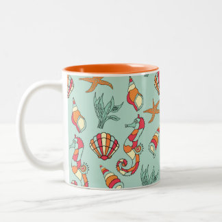 Motif d'hippocampe et de coquillage tasse 2 couleurs