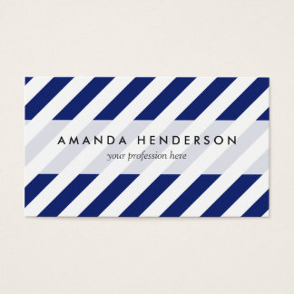 Motif diagonal de bleu marine et blanc de rayures cartes de visite