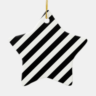 Motif diagonal noir et blanc de rayures ornement étoile en céramique