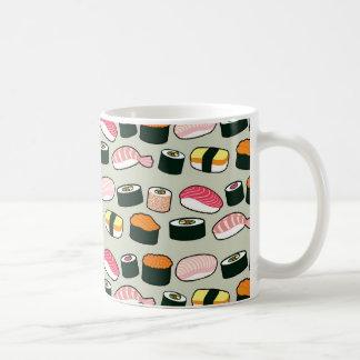 Motif d'illustrations d'amusement de sushi mug blanc