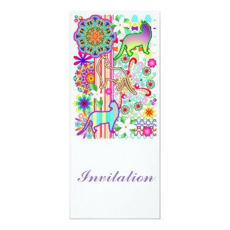 Motif d'imaginaire de mandalas, de chats et de carton d'invitation  10,16 cm x 23,49 cm