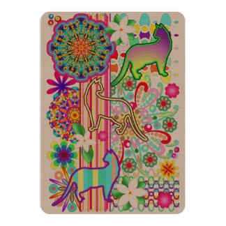 Motif d'imaginaire de mandalas, de chats et de carton d'invitation  12,7 cm x 17,78 cm