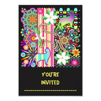 Motif d'imaginaire de mandalas, de chats et de carton d'invitation 8,89 cm x 12,70 cm