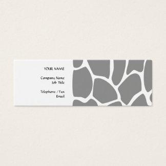 Motif d'impression de girafe dans le gris mini carte de visite