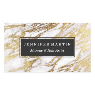 Motif élégant chic de marbre de blanc et d'or carte de visite standard