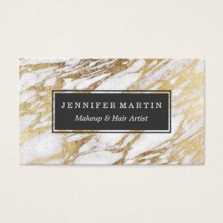 Motif élégant chic de marbre de blanc et d'or cartes de visite