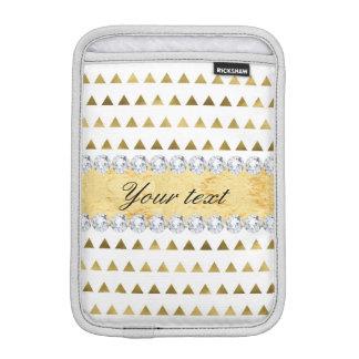 Motif et diamants de triangles de feuille d'or de housse pour iPad mini