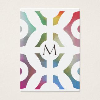 Motif et monogramme géométriques colorés cartes de visite