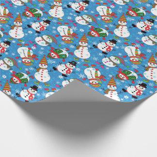 Motif fantaisie de bonhomme de neige d'hiver papier cadeau