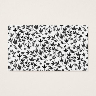 Motif floral d'aquarelle moderne noire et blanche cartes de visite
