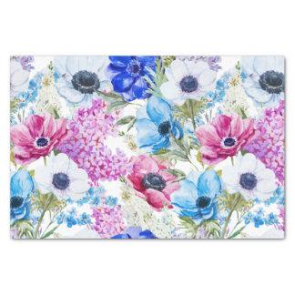 Motif floral d'aquarelle peinte à la main pourpre papier mousseline