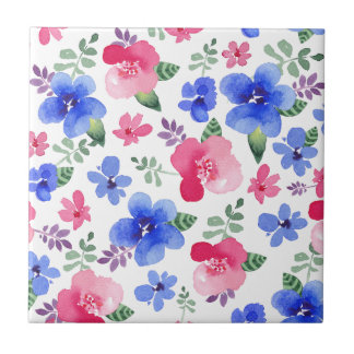 Motif floral d'aquarelle rouge et bleue carreau