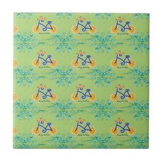 Motif floral de bicyclette d'été carreau