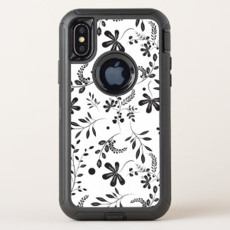 Motif floral de fleur sauvage blanc noir de Boho
