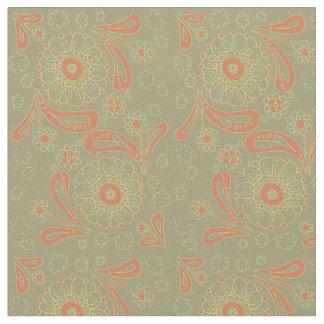 Motif floral de mandala vert et orange de Paisley Tissu