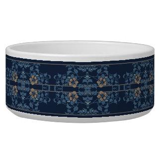 Motif floral de nouveau bleu-foncé d'art écuelle pour chien