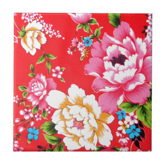 Motif floral ivre carreau