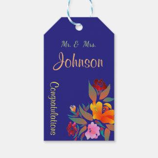 Motif floral multicolore, épousant étiquettes-cadeau