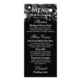 Motif floral noir/blanc - menu de réception