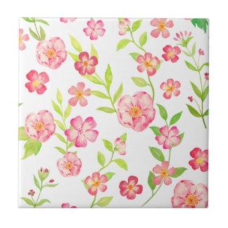Motif floral rose d'aquarelle carreau